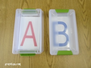 Letter Tracing Box , plastic with snap lid