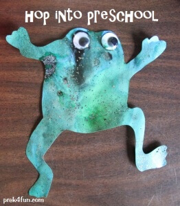 Sep 201Frog watercolor and black glue Art fun 1