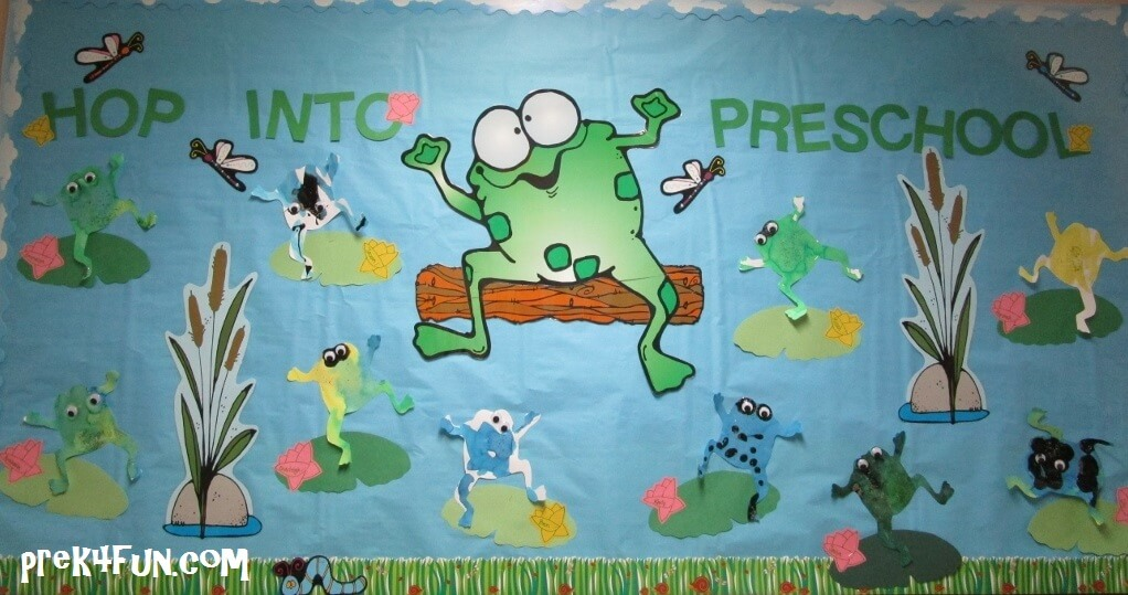 Hop into preschool bulletin board
