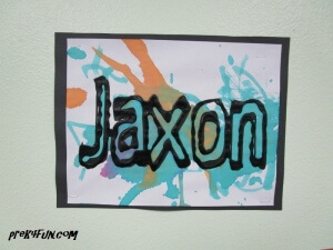 black glue and watercolor name art 5