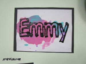 black glue and watercolor name art 6