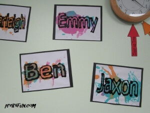 black glue and watercolor name art 7