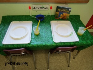 Paper Plate Sunflower Art Center set up