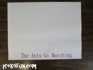 I used a print shop program to add: The Ants Go Marching to our white paper