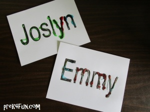 Jello Scented Names: Preschool jello art