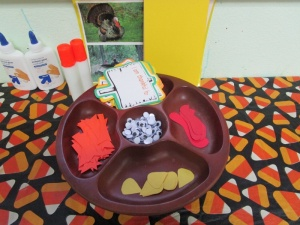 Footprint Turkey Thanksgiving Bulletin Board supplies needed footprint turkey