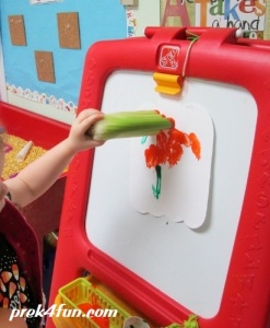 Letter C Celery stamping work