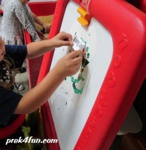 Letter C celery stamping art
