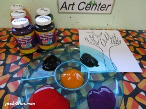 Fall Tree Finger paint supplies needed