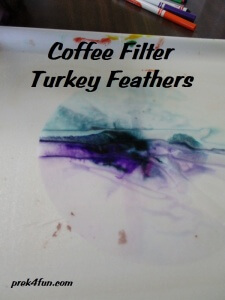 Letter F Preschool Art and Activities Coffee filter turkey feather color mix