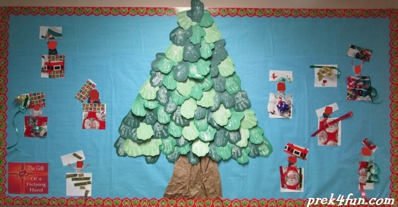 amazing Christmas Around The World Bulletin Board Part - 16: Christmas Hand Print Tree with gifts 038 (800x600)