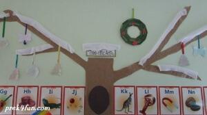 Ice Painted Ornament on Classroom Tree