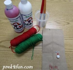 Hand Print Santa Bag Supplies Needed
