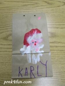 Hand Print Santa Bag wrap 1