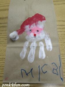 Hand Print Santa Bag wrap 2