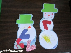 Circle Snowpeople art cut outs