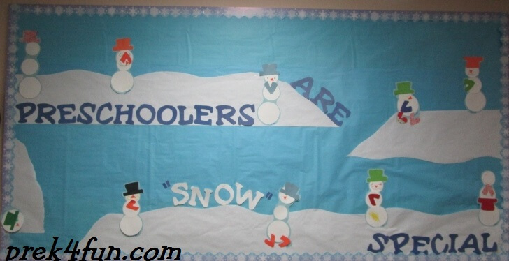 Circle Snowpeople art on bulletin board