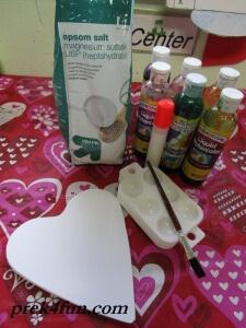 Heart Watercolor,glue and Salt art supplies neededart