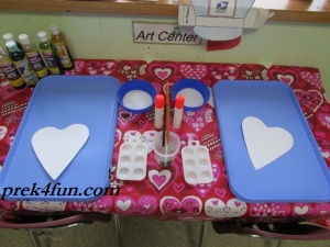 Heart Watercolor,glue and Salt art table set