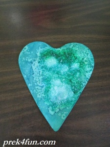 Heart Watercolor,glue and Salt art 1
