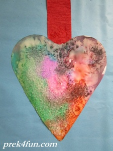 Heart Watercolor,glue and Salt art 4