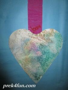Heart Watercolor,glue and Salt art 5