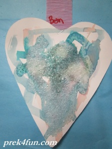 Heart Watercolor,glue and Salt art 6