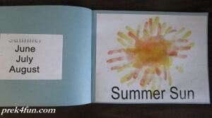 Preschool Book of Seasons summer sun 2