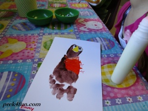 Spring Preschool Bulletin Board foot print Robin work 1