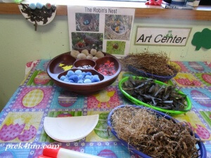 Spring Preschool Bulletin Board Bird Nest art supplies