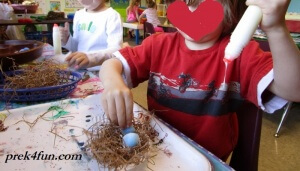 Spring Preschool Bulletin Board Bird Nest art nest building