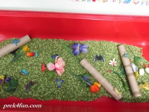 I spy Spring Flowers sensory table find