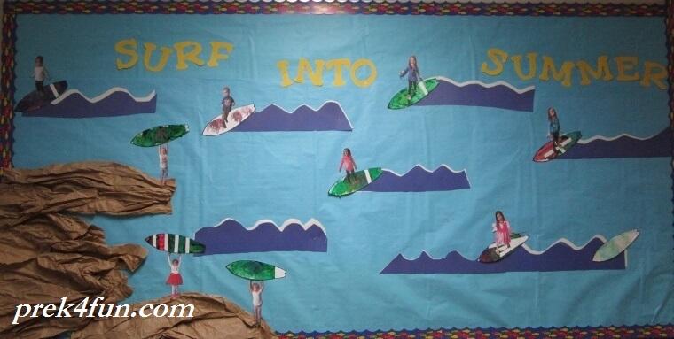Surf Into Summer Preschool Bulletin Board