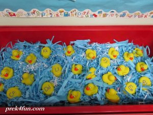 Quack welcome back sensory table