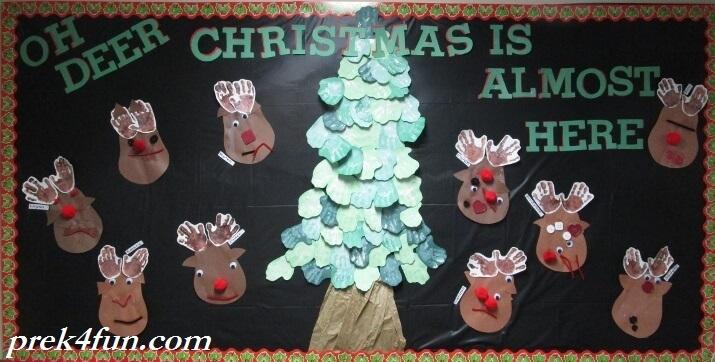 Preschool Christmas Bulletin Board Hand Print Reindeer eer
