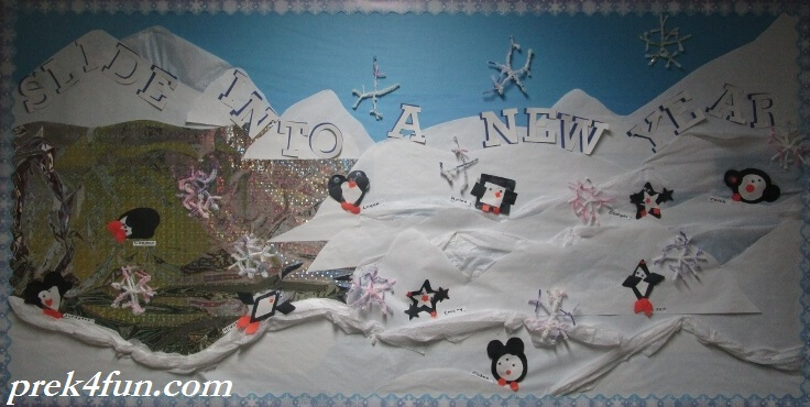 Slide into a new year winter bulletin board