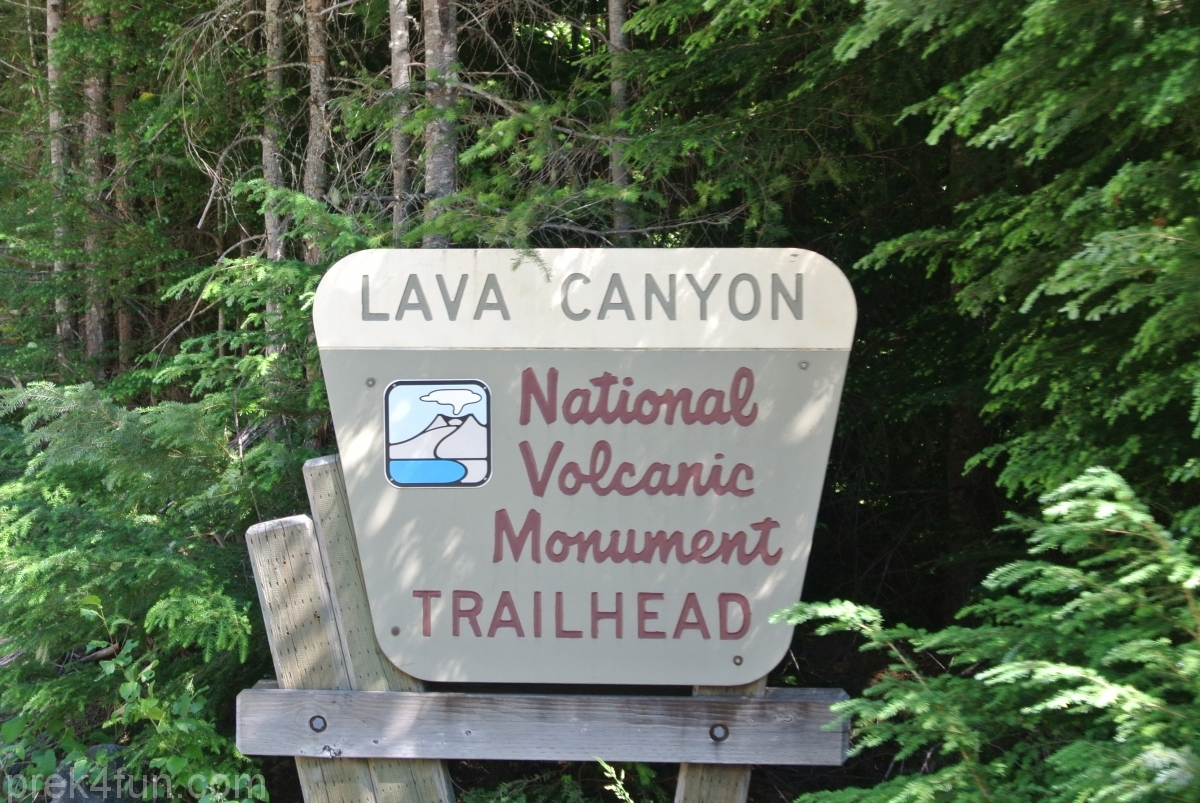 Lava Canyon Loop road entrance sign
