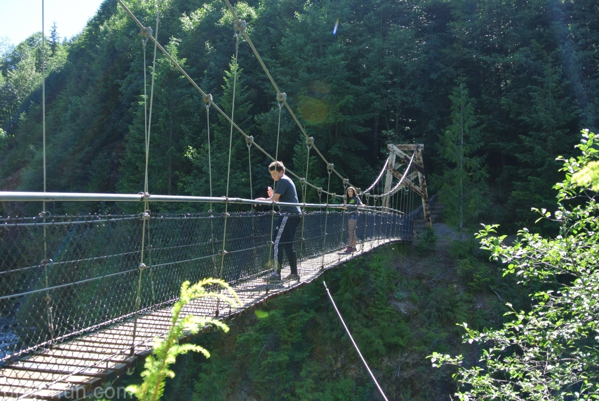 Lava Canyon Loop suspension bridge crossing