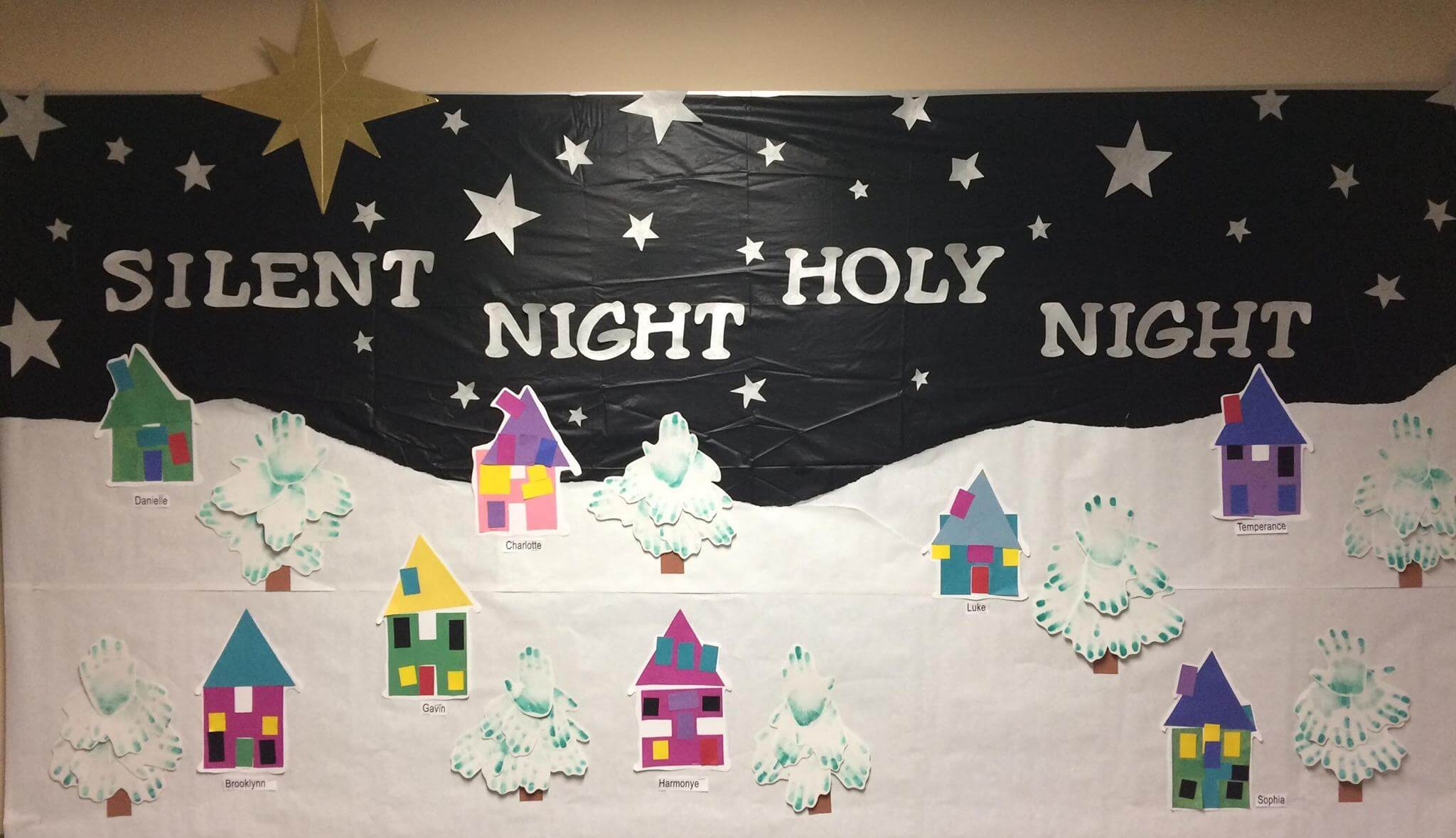 Winter Christmas Town Bulletin Board Silent Night Holy Night